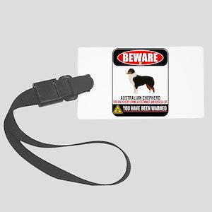 Beware Of Australian Shepherd Th Large Luggage Tag