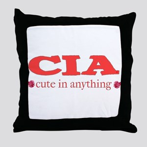CIA cute in anything roses Throw Pillow