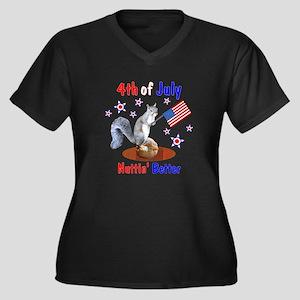 4th of July Women's Plus Size V-Neck Dark T-Shirt