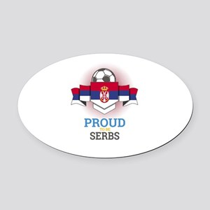 Football Serbs Serbia Soccer Team Oval Car Magnet