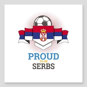"""Football Serbs Serbia So Square Car Magnet 3"""" x 3"""""""