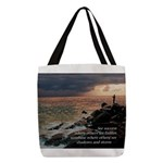 Fishing In Storm Polyester Tote Bag