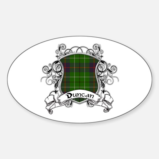 Duncan Tartan Shield Sticker (Oval)