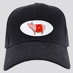 Chinese New Year Pig Black Cap with Patch