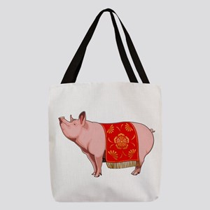 Chinese New Year Pig Polyester Tote Bag