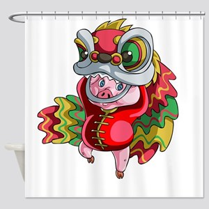 Chinese Dragon Pig Shower Curtain