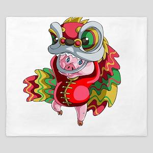 Chinese Dragon Pig King Duvet