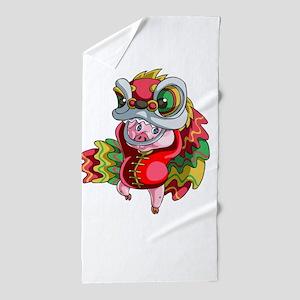 Chinese Dragon Pig Beach Towel