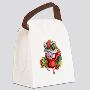 Chinese Dragon Pig Canvas Lunch Bag