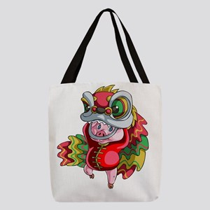 Chinese Dragon Pig Polyester Tote Bag