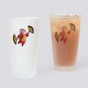 Dancing Chinese New Year Pig Drinking Glass