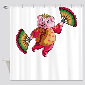 Dancing Chinese New Year Pig Shower Curtain