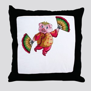 Dancing Chinese New Year Pig Throw Pillow