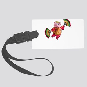 Dancing Chinese New Year Pig Large Luggage Tag