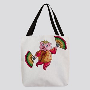 Dancing Chinese New Year Pig Polyester Tote Bag