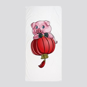 Chines New Year Pig Beach Towel