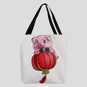 Chines New Year Pig Polyester Tote Bag