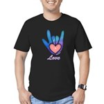 Blue Glass Love Hand Men's Fitted T-Shirt (dark)