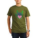 Green/Pink Heart ILY Hand Organic Men's T-Shirt (d