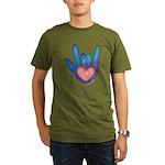 Blue/Pink Glass ILY Hand Organic Men's T-Shirt (da