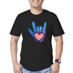Blue/Pink Glass ILY Hand Men's Fitted T-Shirt (dar