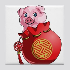 Chines New Year Pig Tile Coaster