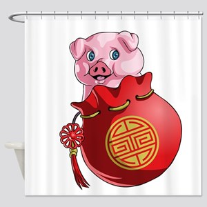 Chines New Year Pig Shower Curtain