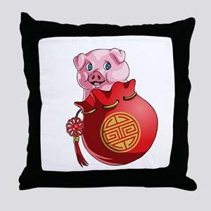 Chines New Year Pig Throw Pillow