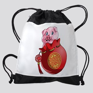 Chines New Year Pig Drawstring Bag