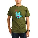 Aqua Bold I-Love-You Organic Men's T-Shirt (dark)