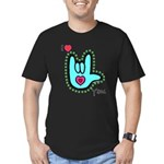 Aqua Bold I-Love-You Men's Fitted T-Shirt (dark)