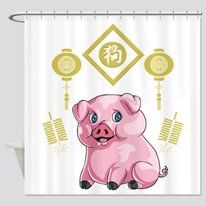Chinese New Year Pig Shower Curtain