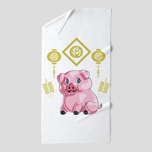 Chinese New Year Pig Beach Towel