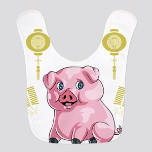 Chinese New Year Pig Polyester Baby Bib