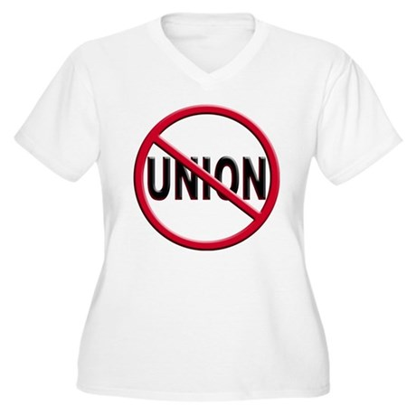 Anti-Union Women's Plus Size V-Neck T-Shirt