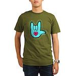 Aqua Bold Love Hand Organic Men's T-Shirt (dark)