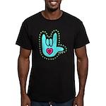 Aqua Bold Love Hand Men's Fitted T-Shirt (dark)