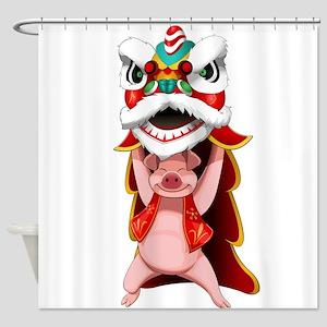 Pig Dragon Shower Curtain