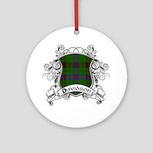 Davidson Tartan Shield Ornament (Round)
