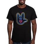 Blue Bold Love Hand Men's Fitted T-Shirt (dark)