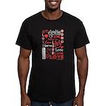 Love WordsHearts Men's Fitted T-Shirt (dark)