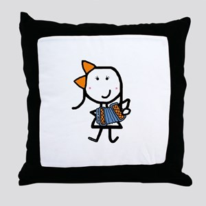 Girl & Accordion Throw Pillow