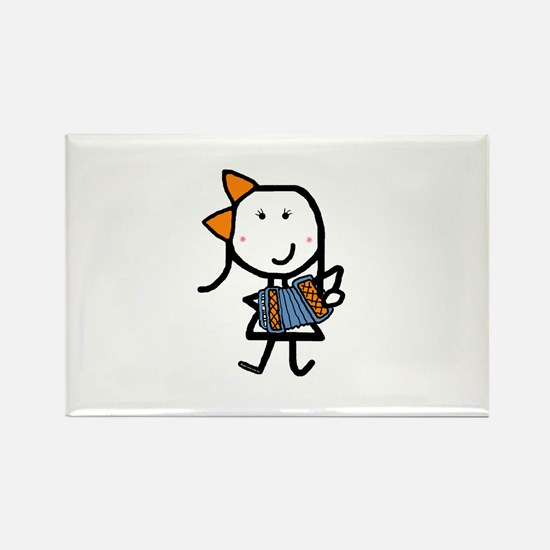Girl & Accordion Rectangle Magnet