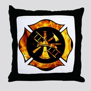 Flaming Maltese Cross Throw Pillow
