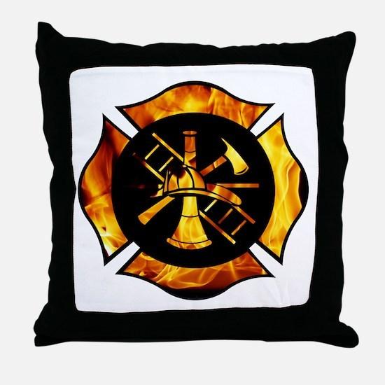 Flaming Maltese Cross Throw Pillow