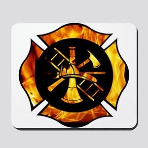 Flaming Maltese Cross Mousepad