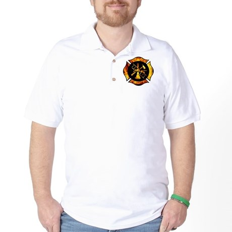 Flaming Maltese Cross Golf Shirt