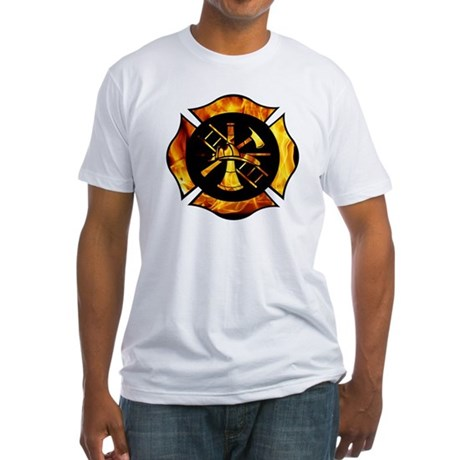 Flaming Maltese Cross Fitted T-Shirt