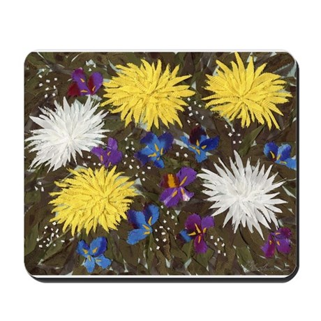 Chrysanthemums and Irises Mousepad