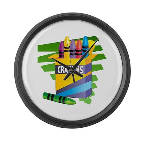 Crayons Large Wall Clock